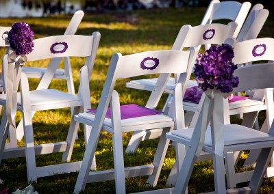 Purple Outdoor Wedding Flowers Ceremony Decor