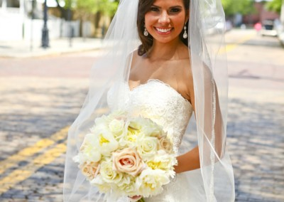 Ybor City Bride with Pink and White Wedding Bouquet