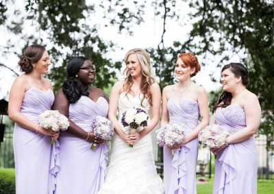 Purple and White Wedding Bouquets with Lavender Bridesmaid Dresses