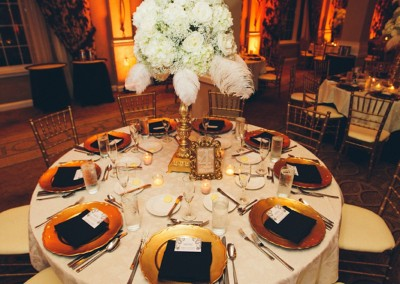 White Tall Wedding Centerpiece with White Feathers