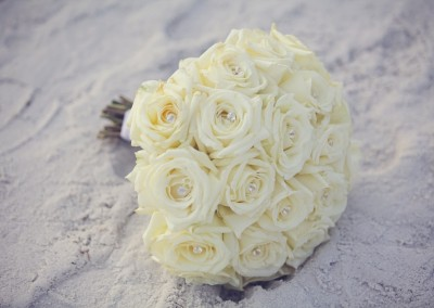 White Wedding Bouquet with Rhinestones Beach Wedding