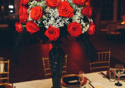 Red Rose Tall Wedding Centerpiece