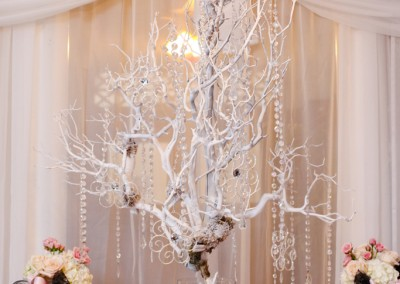 White Branch Wedding Centerpieces with Crystals