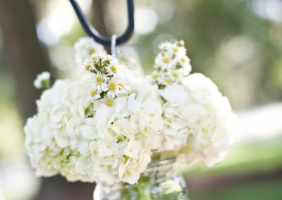 White Flowers Hanging Mason Jar Wedding Ceremony Decor on Sheppard's Hooks