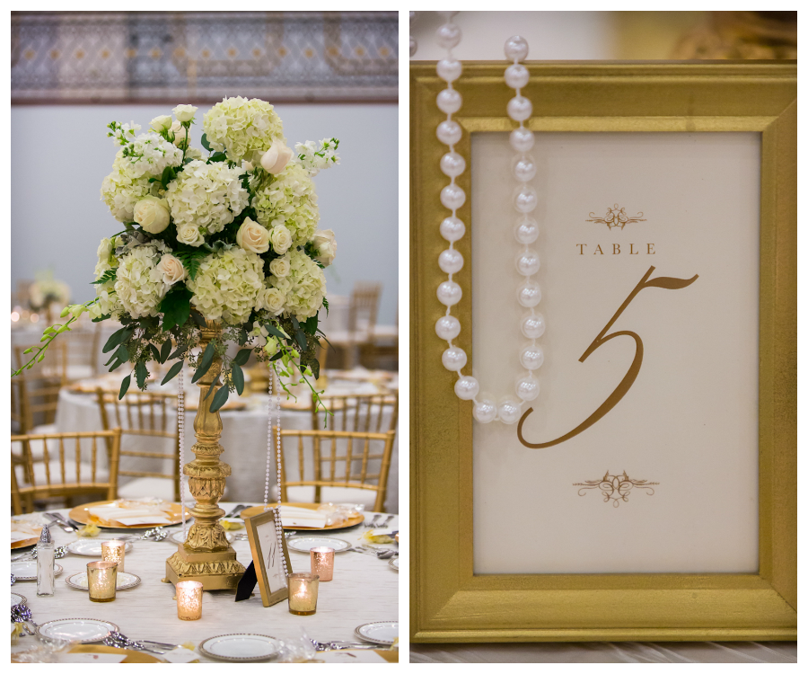 Gold and Ivory Wedding Reception Decor with Ivory Floral Table Decor | Tampa Wedding Floral Designer Northside Florist