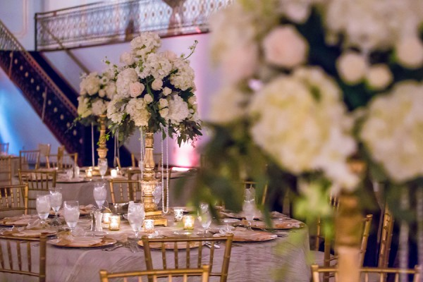 Floridan Palace Wedding Reception with Ivory and Gold Table Centerpieces Draped in Pearls Tampa Wedding Floral Designer Northside Florist