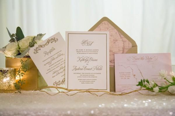 Ivory and Gold Wedding Invitation Stationary