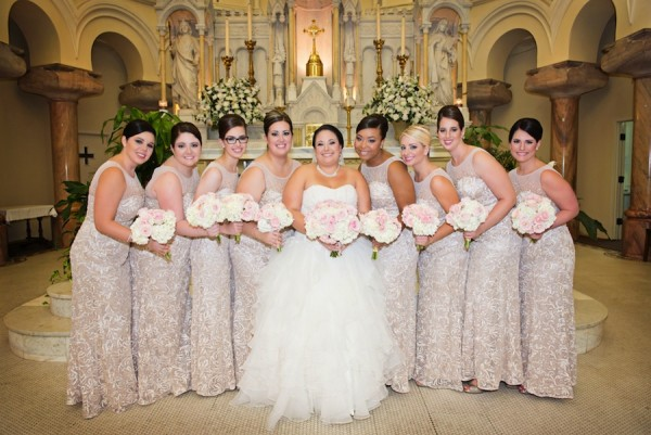 Tampa Bride and Bridesmaids Portrait | Downtown Tampa Wedding Sacred Heart Catholic Church | Blush Pink and White Rose Wedding Bouquet by Northside Florist