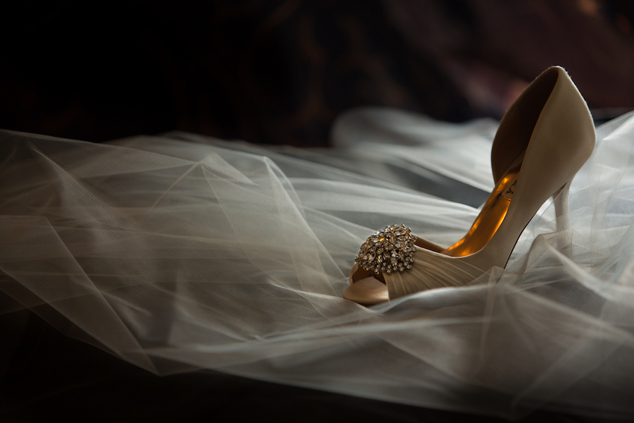 Ivory, Badgely Mischka Bridal Wedding Shoes with Veil