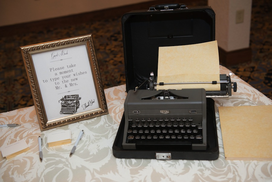 Vintage Typewriter Guestbook at Wedding Guest Sign in Table