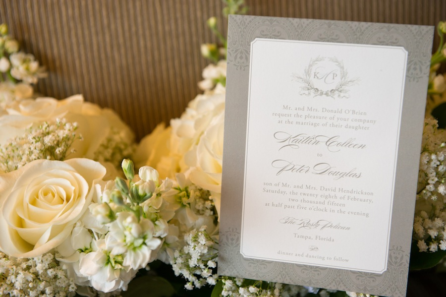 Grey Wedding Invitation with White Ivory Roses | Tampa Wedding Floral Designer Northside Florist