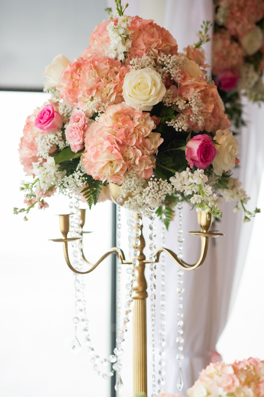 Tall Pink and White Wedding Centerpiece with Gold Candelabra and Rhinestones | Tampa Wedding Floral Designer Northside Florist