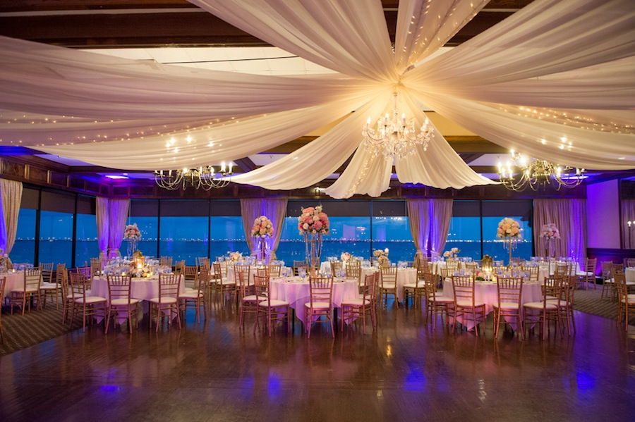 Tall Pink and White Wedding Centerpiece with Gold Candelabra and Rhinestones at Rusty Pelican Wedding Reception | Tampa Wedding Floral Designer Northside Florist