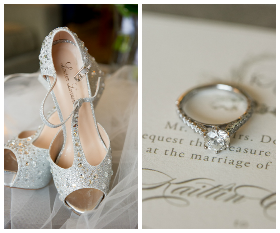 Rhinestone Wedding Shoes and Engagement Ring and Wedding Invitation