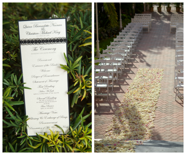 Wedding Program and Floral Rose Petal Aisle by Northside Florist | Outdoor St Pete Beach Wedding Ceremony at Loews Don CeSar Hotel