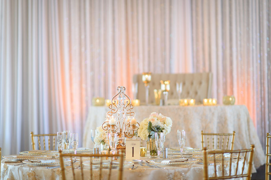 White and Gold Wedding Reception with Chiavari Chairs and Blush Pink Centerpieces with Candles | St Pete Beach Wedding Florist Northside Florist