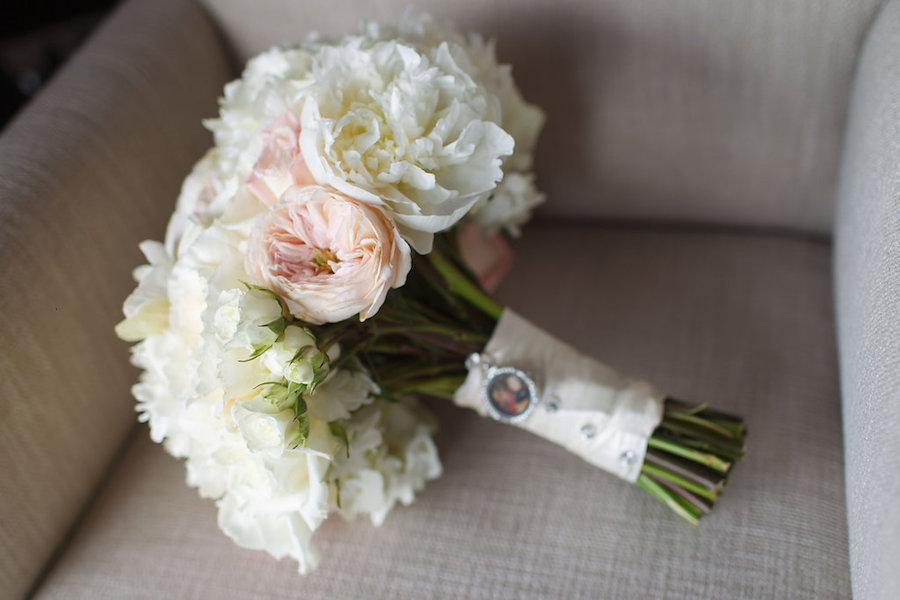 Romantic Blush and White Wedding Bouquet with Memory Charm | St. Pete Beach Wedding Florist Northside Florist
