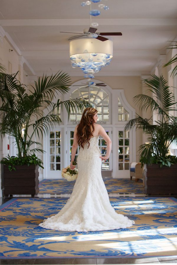 St. Pete Beach Bride Wedding Portrait | Kleinfeld Bridal Strapless Beaded Wedding Dress