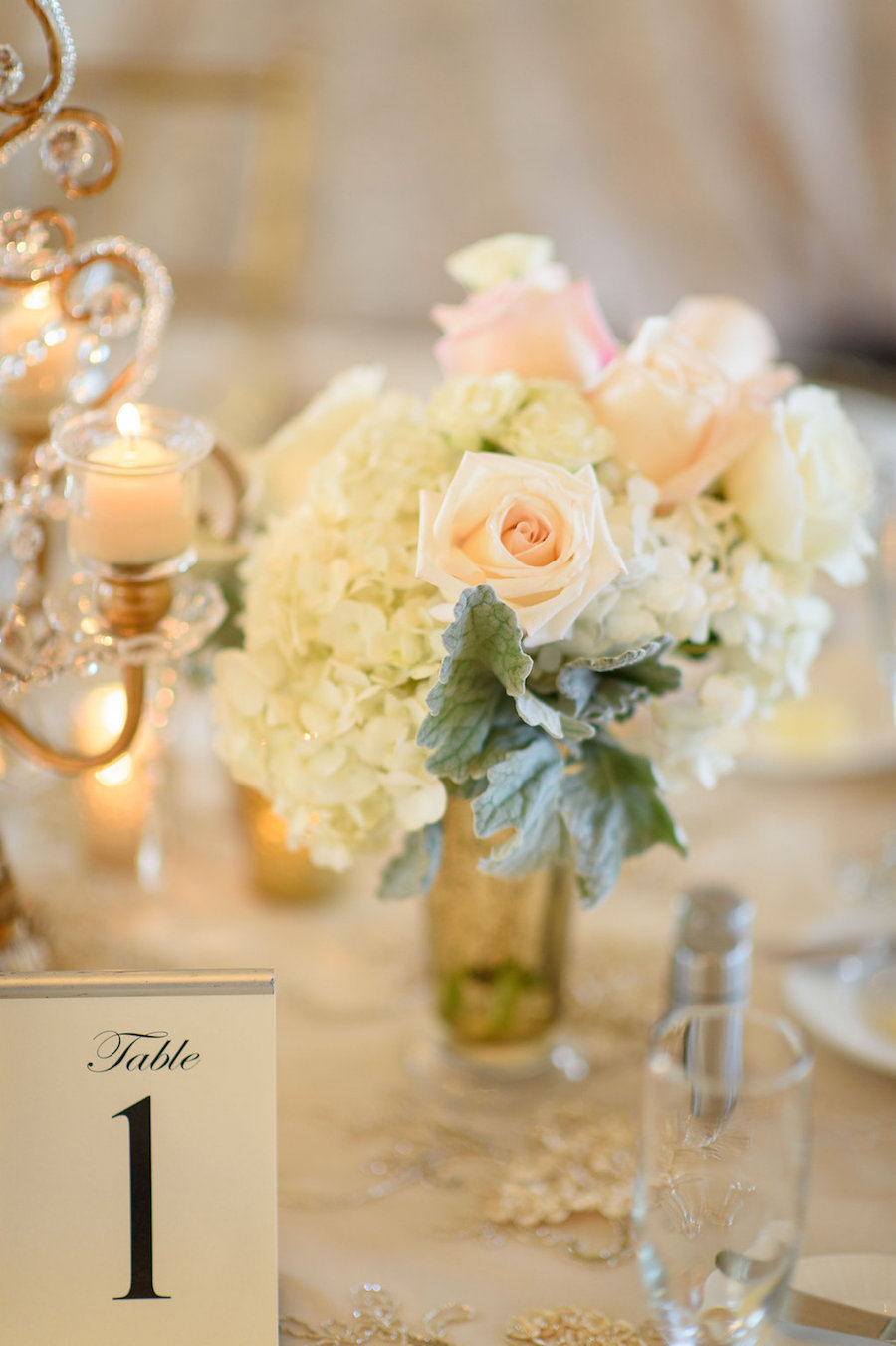 White, Blush Pink and Gold Wedding Centerpieces with Candelabra and Rhinestone Crystals | St Pete Beach Wedding Floral Designer Northside Florist