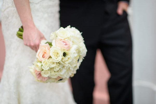Romantic Blush and White Wedding Bouquet with Memory Charm | Destination St. Pete Beach Wedding Floral Designer Northside Florist