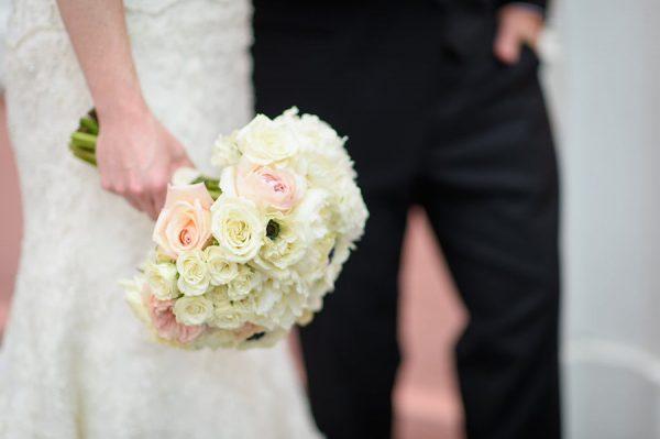 Romantic Blush and White Wedding Bouquet with Memory Charm | Destination St. Pete Beach Wedding Floral Designer Northside Florist