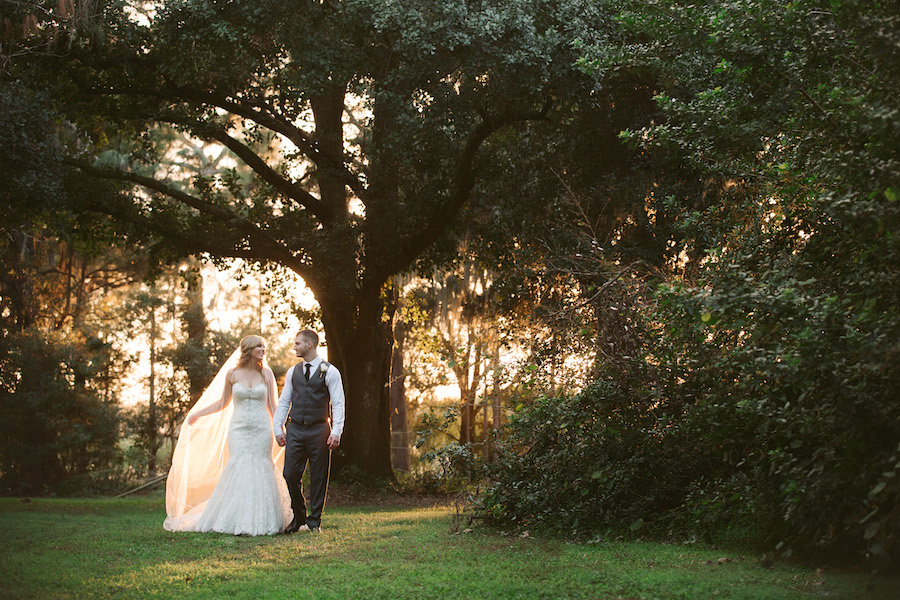 Bride and Groom Outdoor Tampa Bay Wedding Portrait in Woods | Land O Lakes Wedding Floral Designer Northside Florist