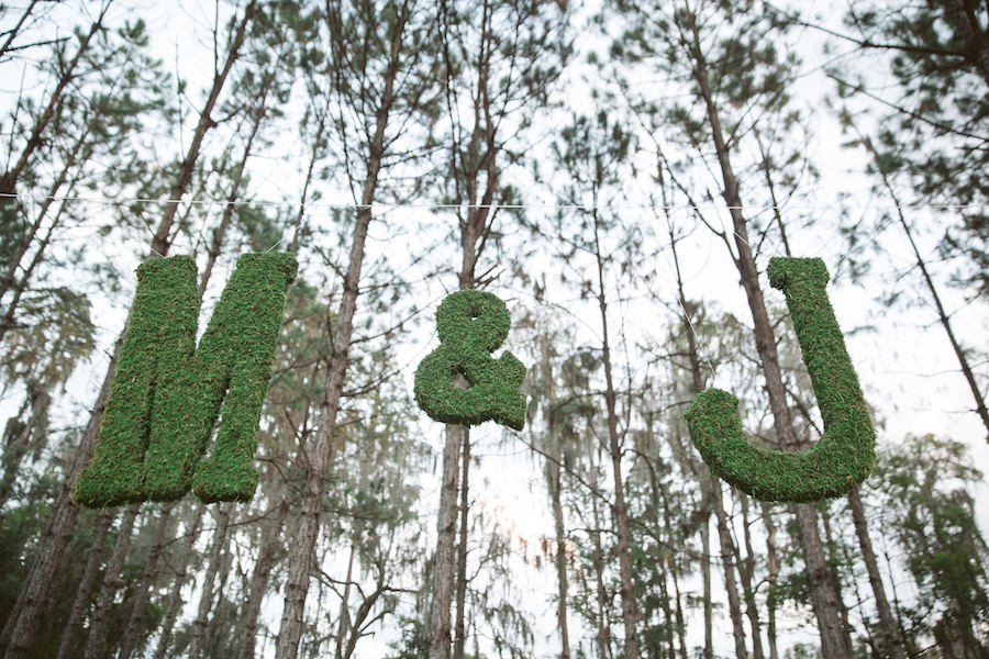 Rustic Wedding Decoration Moss Bride and Groom Initials | Tampa Bay Wedding Floral Designer Northside Florist