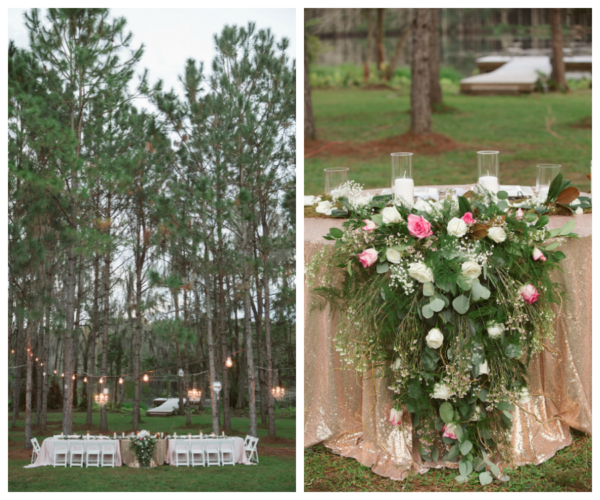 Twilight Wedding Inspired Head Table Centerpiece with Cascading Ivory and Light Pink Florals on Rose Gold Sequin Tablecloth | Rustic Glam Wedding Ideas | Tampa Bay Wedding Floral Designer Northside Florist
