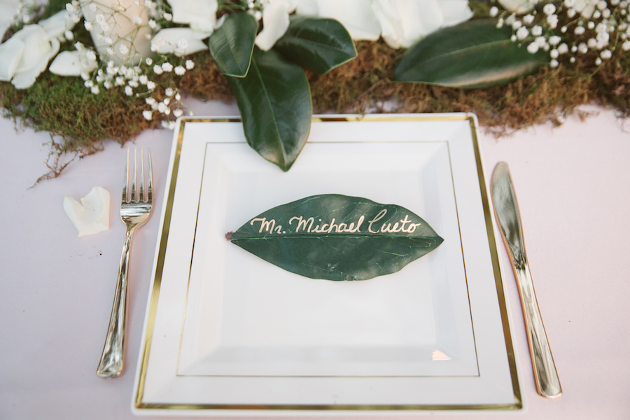 Rustic Wedding Table Setting and Name Card with Ivory Rose Petals, Baby's Breath and Greenery | Land O Lakes Wedding Florist Northside Florist