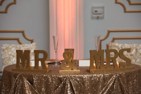 Mr & Mrs Wedding Sign with Glitter Sequined Linens | Sweetheart Wedding Table at Floridan Palace | Downtown Tampa Wedding Florist Northside Florist