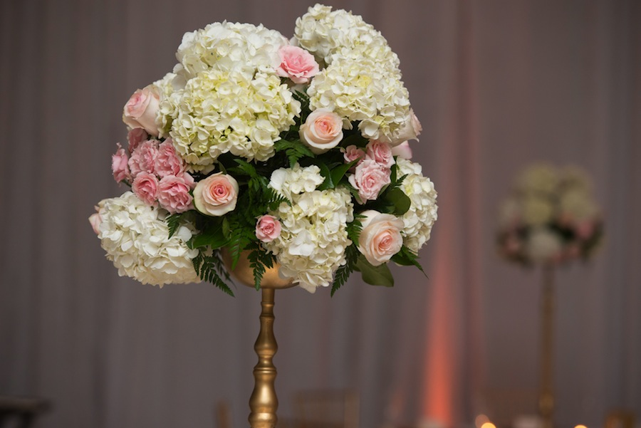 White and Pink Tall Wedding Centerpiece | Northside Florist - Tampa Wedding Florist