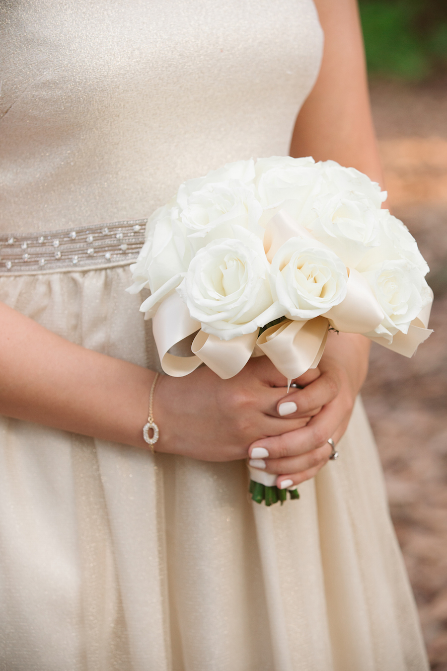 Ivory Rose Wedding Bouquet with Ivory Ribbon by Tampa Wedding Floral Designer Northside Florist