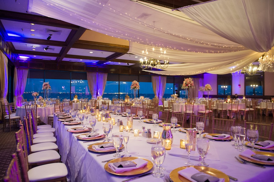 Tall Pink And White Wedding Centerpiece With Gold Candelabra Rhinestones At Rusty Pelican Reception